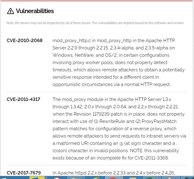 Shodan Vulnerabilities from specific device