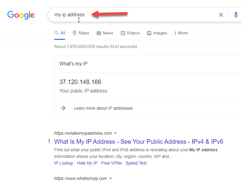 Write my ip address in Google after VPN connected